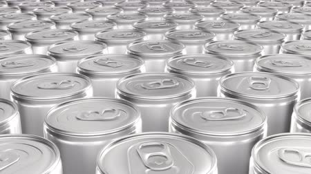 blank can : Looping 60 fps 3D animation of the blank aluminum soda cans in UHD