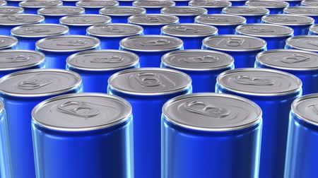 blank can : Looping 60 fps 3D animation of the blue aluminum soda cans in UHD