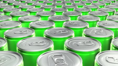 cola : Looping 60 fps 3D animation of the green aluminum soda cans in UHD
