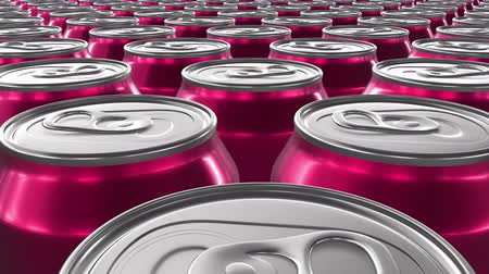 консервированный : Looping 60 fps 3D animation of the red aluminum soda cans in UHD Стоковые видеозаписи