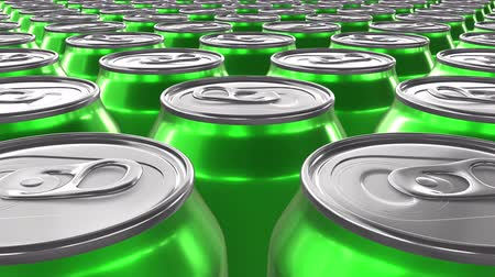 blank can : Looping 60 fps 3D animation of the green aluminum soda cans in UHD