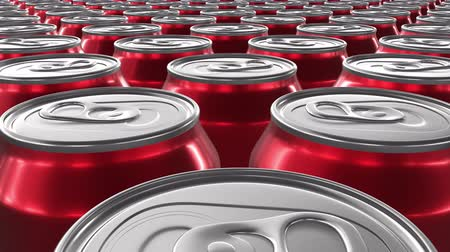 ón : Looping 60 fps 3D animation of the red aluminum soda cans in UHD Stock mozgókép