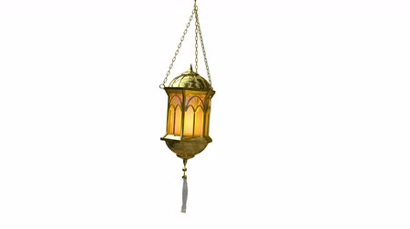 lamba : seamless loop of an islamic lantern 3d animation on white background Stok Video