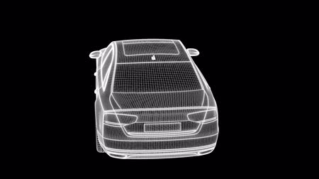 лошадиная сила : 3d rendering of a wireframe car loop animation on a dark background