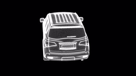3d rendering of a wireframe car loop animation on a dark background