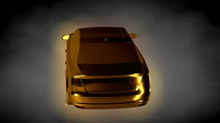hatékonyság : 3d rendering of a loop animation of a golden car inside a dark studio setup