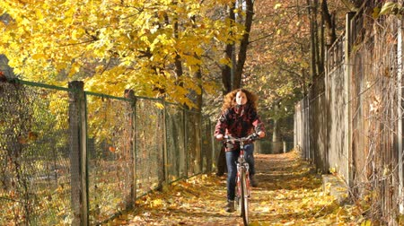 bisiklete binme : Woman cycling in autumn park Stok Video