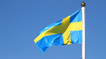 bez : Flag of swedish on a background sky