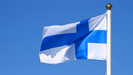 fince : Flag of Finland on a background blue sky