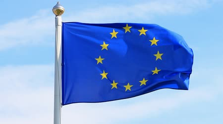alargamento : Flag of European Union waving on thef blue sky.