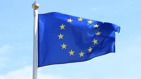 alargamento : European Union flag waving on wind
