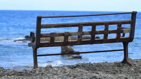 phaselis : Empty bench on the Mediterranean Sea in Antalya, Phaselis.
