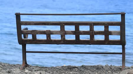 phaselis : Lonely bench on a rock near the sea in Phaselis, Turkey Stock Footage