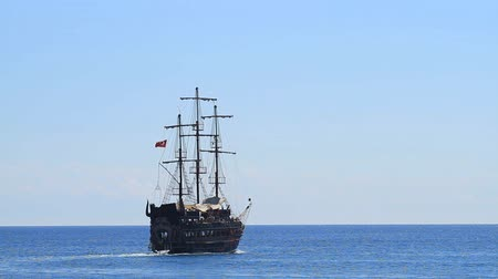 port n : Kemer, Turkey - June 20, 2018: Pirate old ship sails with tourists in Kemer, Turkey.