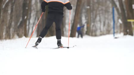 Man goes cross-country skiing in winter park Stock Footage