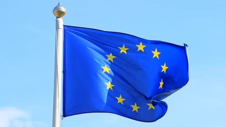 Blue flag with stars of the European Union