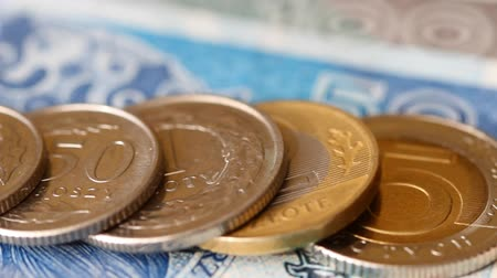 Polish zloty money coins and banknotes Stock Footage