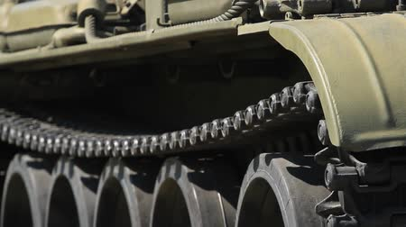tracked : Military old tank caterpillar and armor Stock Footage