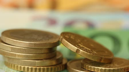 one hundred : Money euro coins and banknotes background Stock Footage