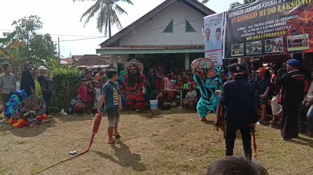 animal object : Indonesia, 17 March 2019:  Kuda Lumping performance in Palembang City, Kuda Lumping is an art originating from Java