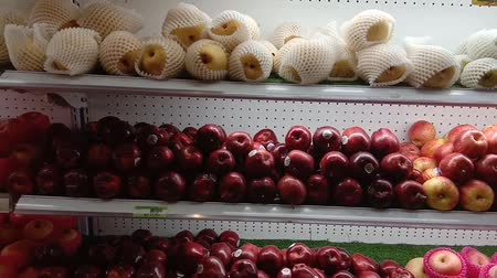 cesta : various apples on the market
