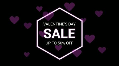 floral composition : Valentines day sale neon letter and heart symbol on the black color for promotion sale and for clearance sale and for promote sale season. Stock Footage