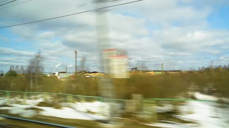 View from the window of a fast moving train
