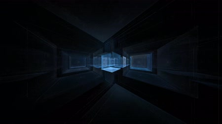 individualidade : Blue cube fractal rotate diagonal 360 in 4K