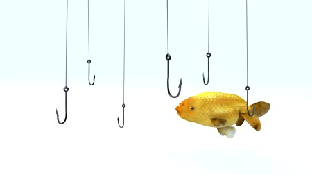 cauda : fish swimming between fishing hooks, 3d animation