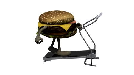 hambúrguer : burger with arms and legs on running machine, 3d animation loop Vídeos