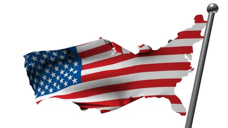 north america : usa flag with country map, 3d animation