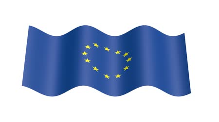 rastr : Europe flag wavy, 3d animation loop