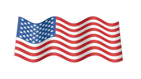 rastr : American flag wavy, 3d animation loop