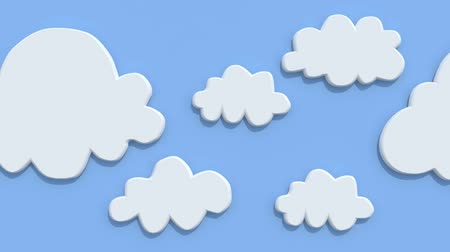 mraky : Cartoon clouds on blue background, animation loop
