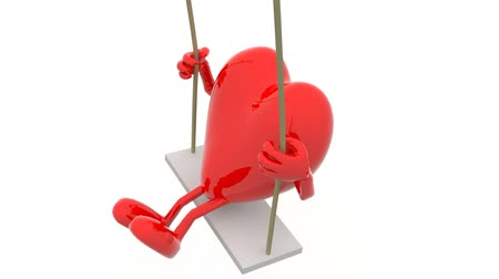oynamak :  heart with arms and legs on a swing, 3d animation loop Stok Video