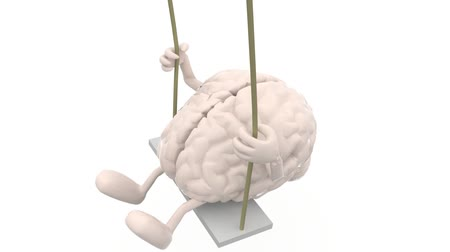 agy :  brain with arms and legs on a swing, 3d animation loop