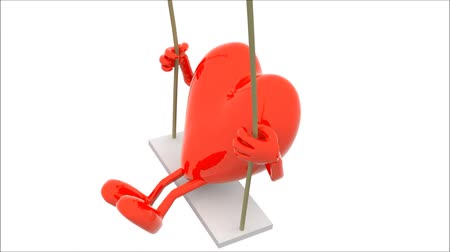 brain and heart with arms and legs on a swing, 3d animation loop Wideo