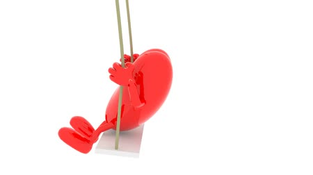 heart with arms and legs on a swing, 3d animation loop