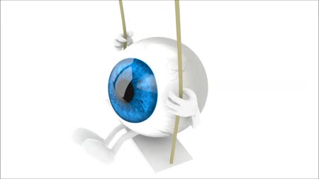 brown eyeball with arms and legs on a swing become blue, 3d animation loop