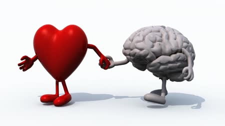 estilo de vida saudável : heart and brain That walk hand in hand, 3d animation loop