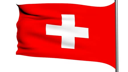 švýcarský : swiss flag 3d animation on white background