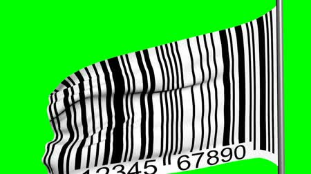 Barcode flag on green screen 3d animation