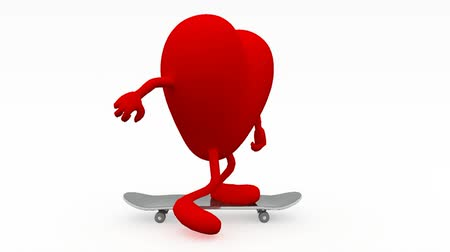 Heart with arms and legs on skateboard, 3d animation Wideo