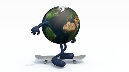 Planet earth with arms and legs on skateboard, 3d animation