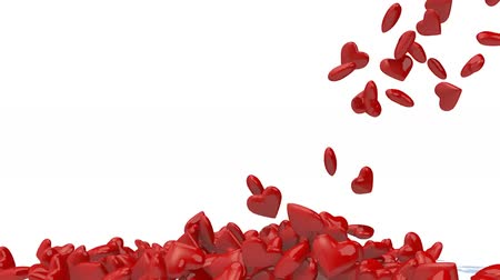 many hearts fall on white background, 3d animation