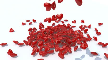 many heart fall on white background, 3d animation