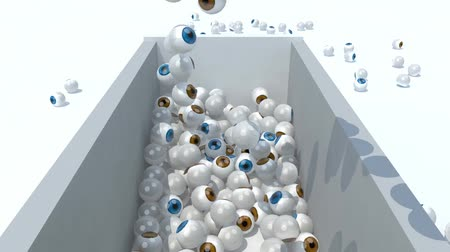 many eyeballs fall on a container, 3d animation Wideo
