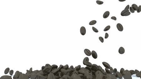 many coffee beans fall on white background, 3d animation