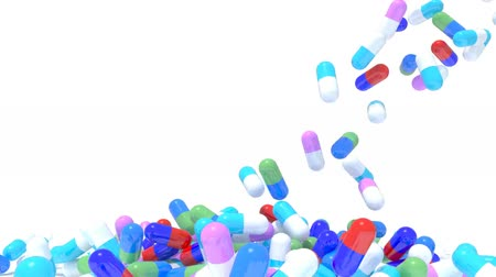 many pills fall on white background, 3d animation Wideo