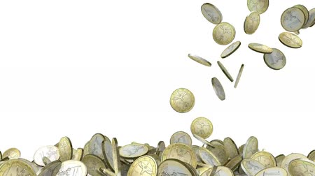 many euro coins on white background, 3d animation